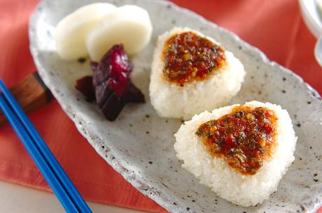 Recipe Grilled Rice Ball with Leek Miso Sauce