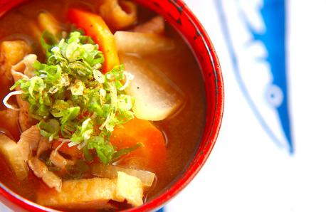 Recipe Miso Soup with Pork and Vegetables