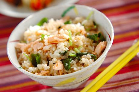 Recipe Rice with Steamed Salmon