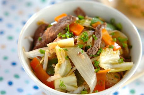 Recipe Stir Fried Vegetables and Meat Bowl